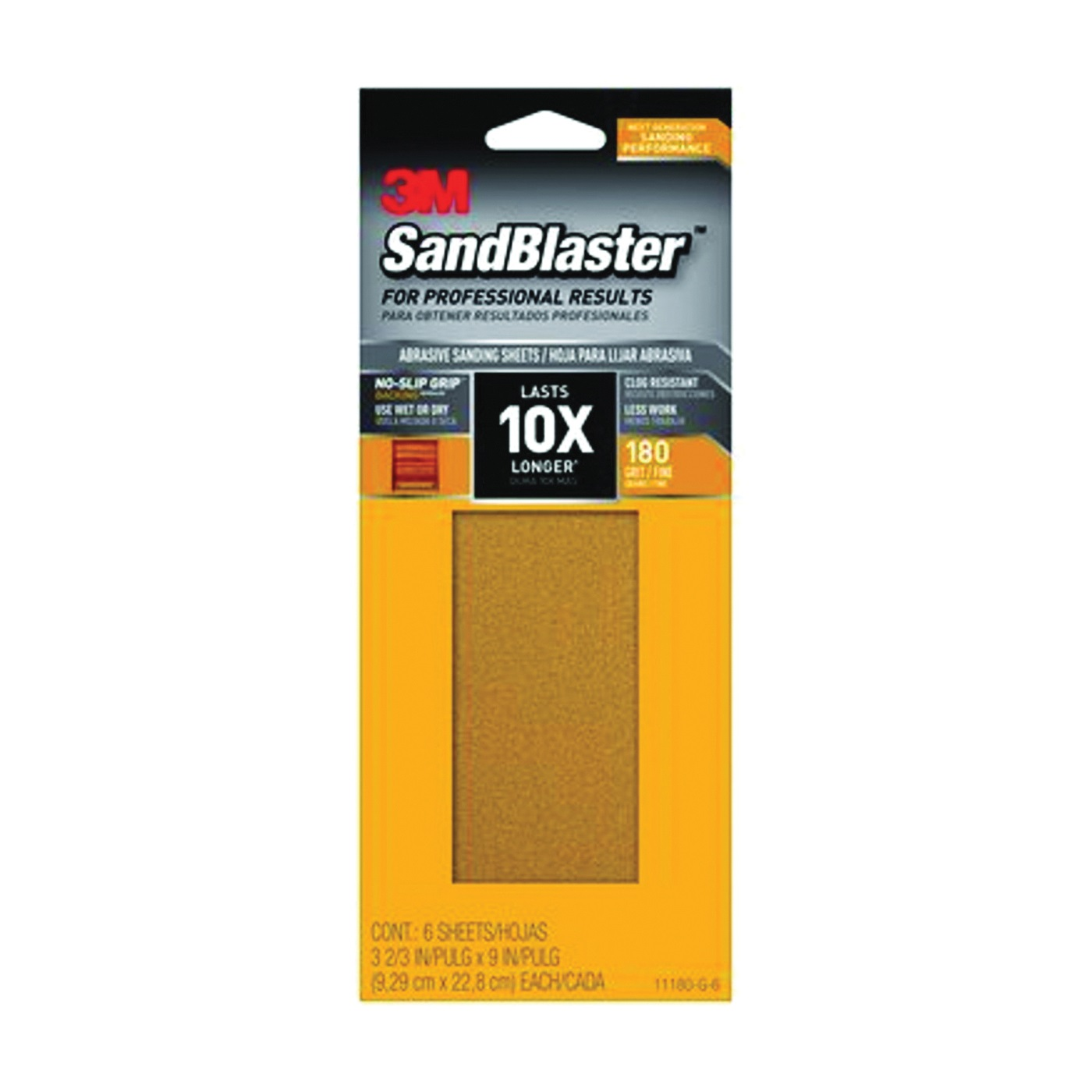 Picture of 3M SandBlaster 11180-G-6 Sandpaper, 9 in L, 3-2/3 in W, 180 Grit, Medium, Synthetic Mineral Abrasive