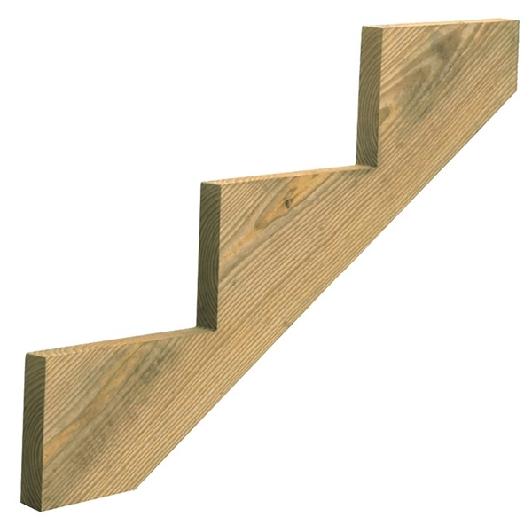 Picture of Universal Forest Products279712 Stair Stringer, 35.64 in L, 11-1/4 in W, 3-Step, Wood, Yellow