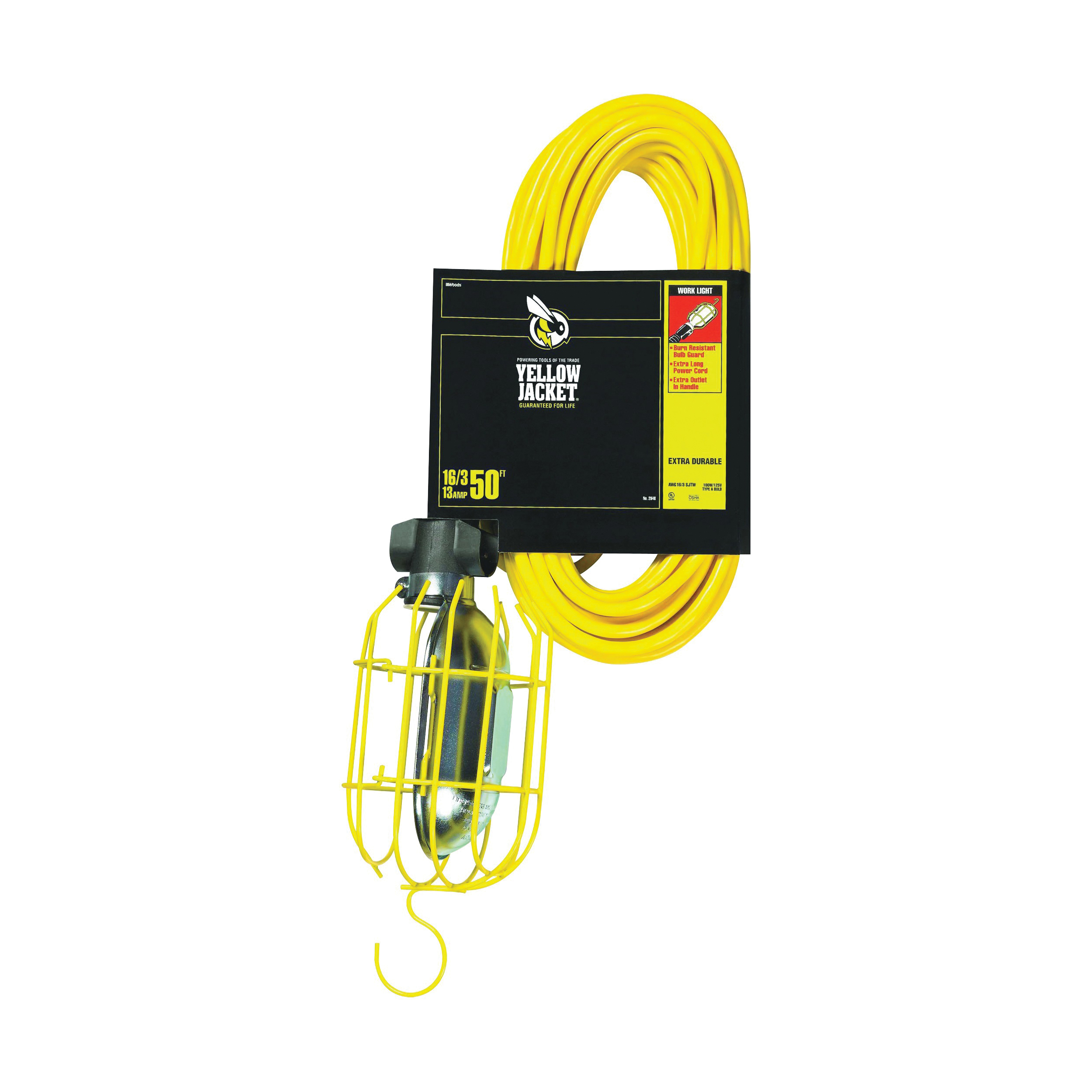 Picture of CCI 2948 Work Light with Outlet and Metal Guard, 13 A, 120 V, Yellow
