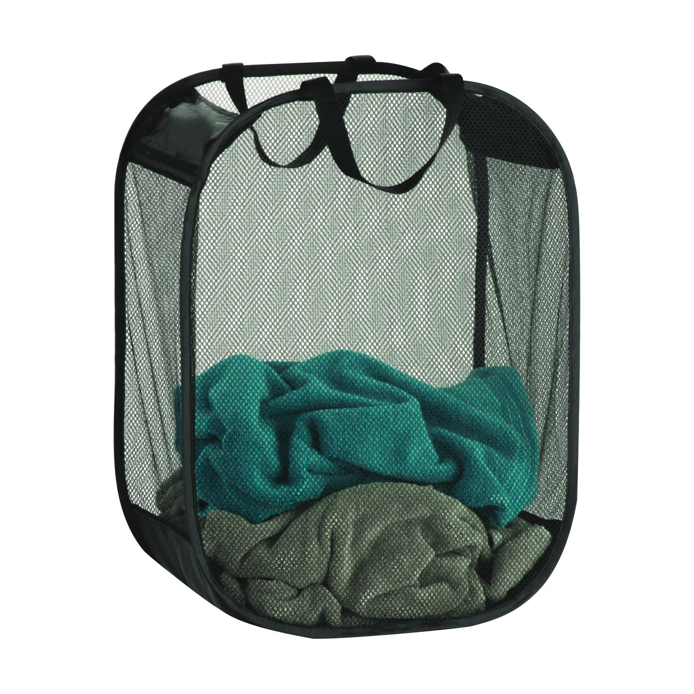 Picture of Honey-Can-Do HMP-03891 Mesh Hamper, Fabric Bag, Black, 9-3/4 in W, 9 in D