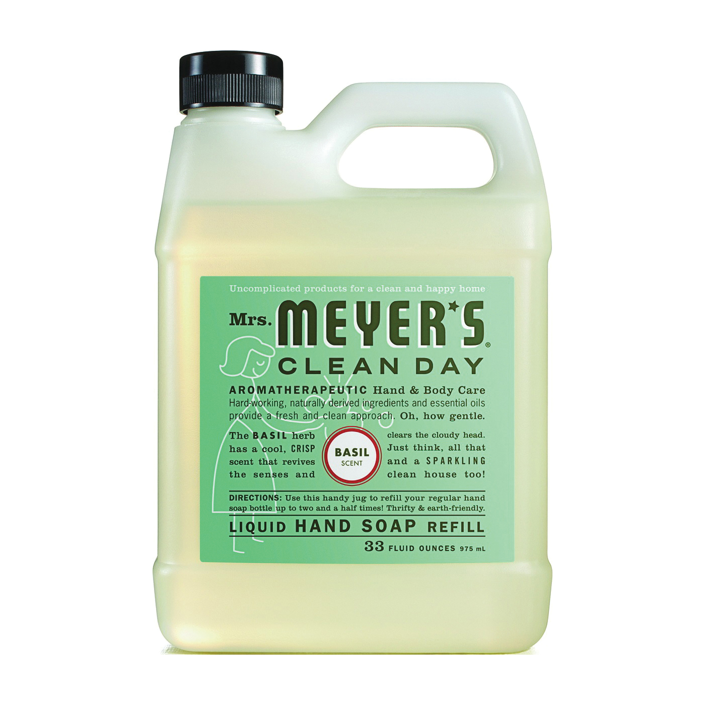 Picture of Mrs. Meyer's 14163 Hand Soap Refill, Liquid, Colorless, Basil, 33 oz Package, Jug