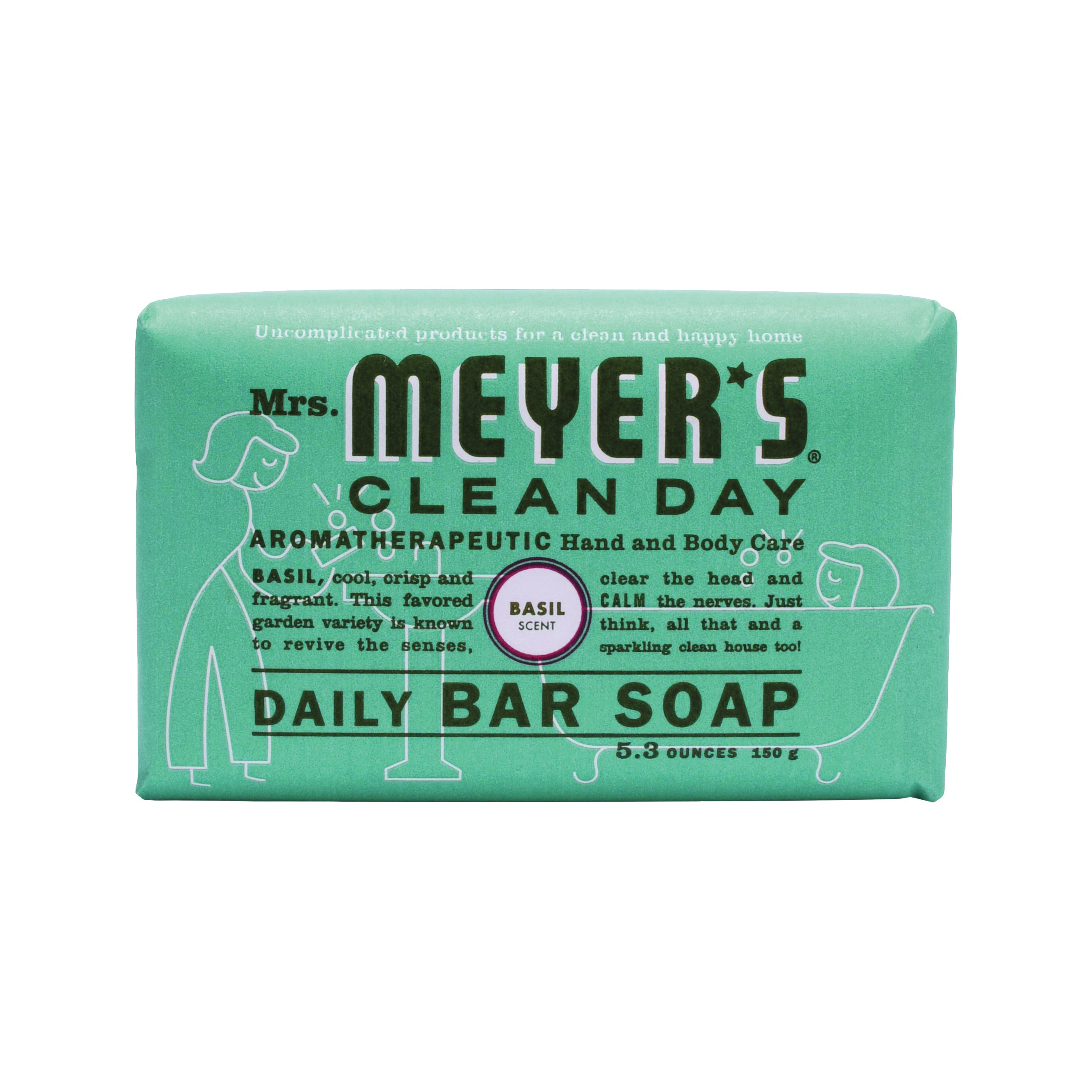 Picture of Mrs. Meyer's 14165 Bar Soap, Solid, Basil, 5.3 oz Package