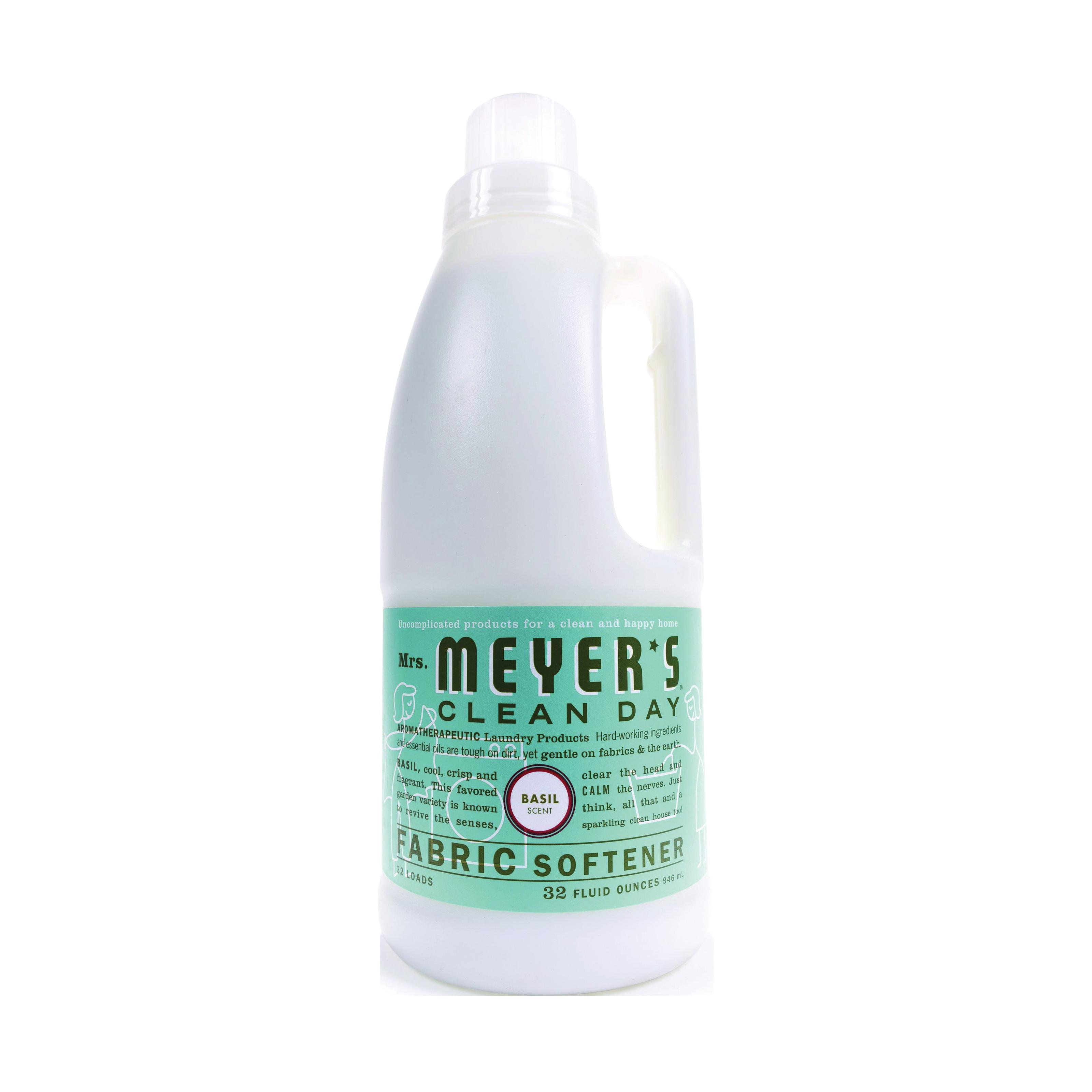 Picture of Mrs. Meyer's 014334 Fabric Softener, 32 oz Package, Bottle, Liquid, Basil