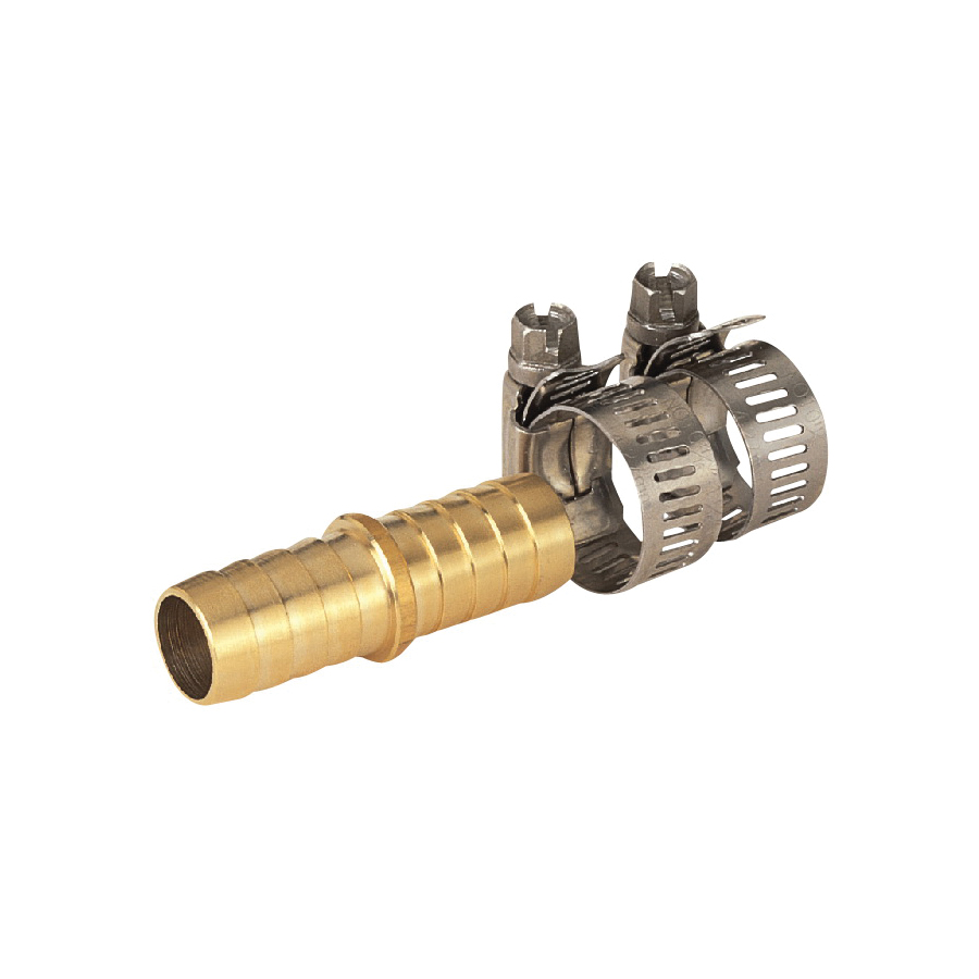 Picture of Landscapers Select GB91113L Hose Mender with Clamps, 5/8 in, Male, Brass, Brass and Silver