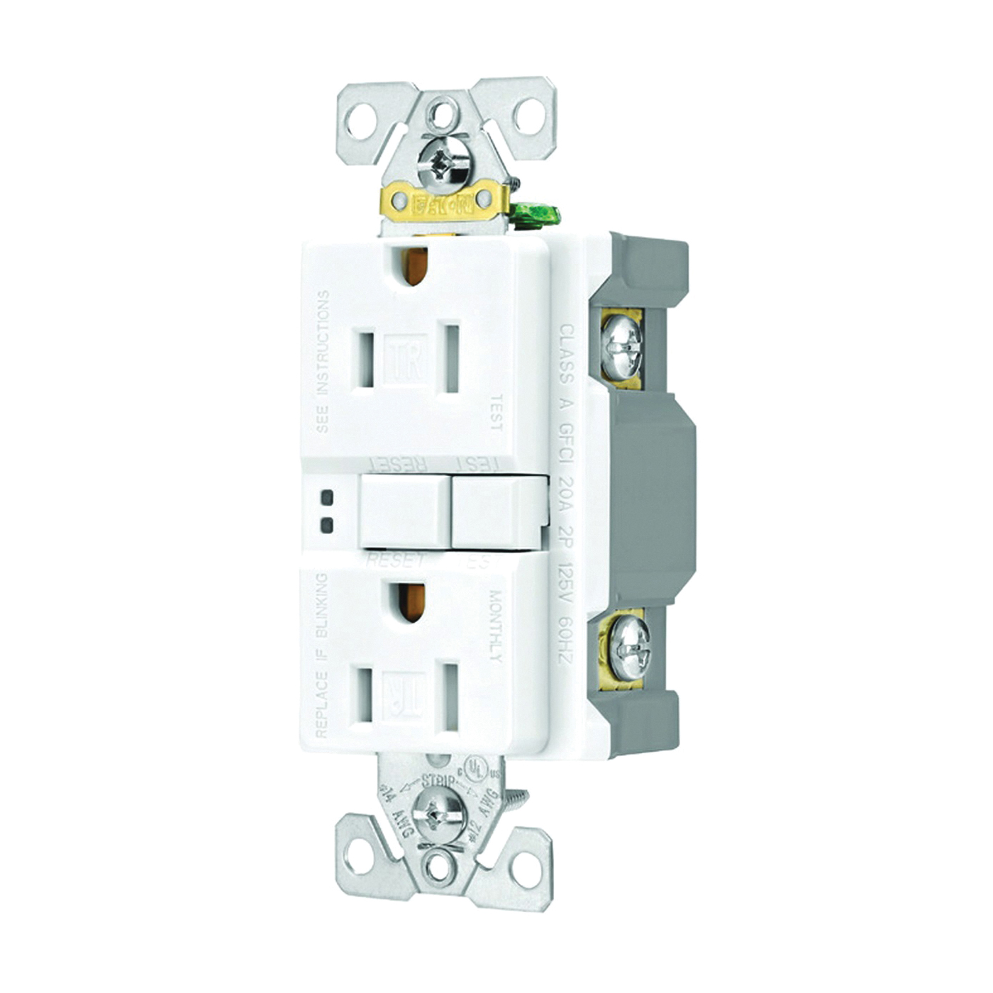 Picture of Eaton Wiring Devices SGF15W-3 Duplex GFCI Receptacle, 2-Pole, 15 A, 125 V, Back, Side Wiring, NEMA: 5-15R, White