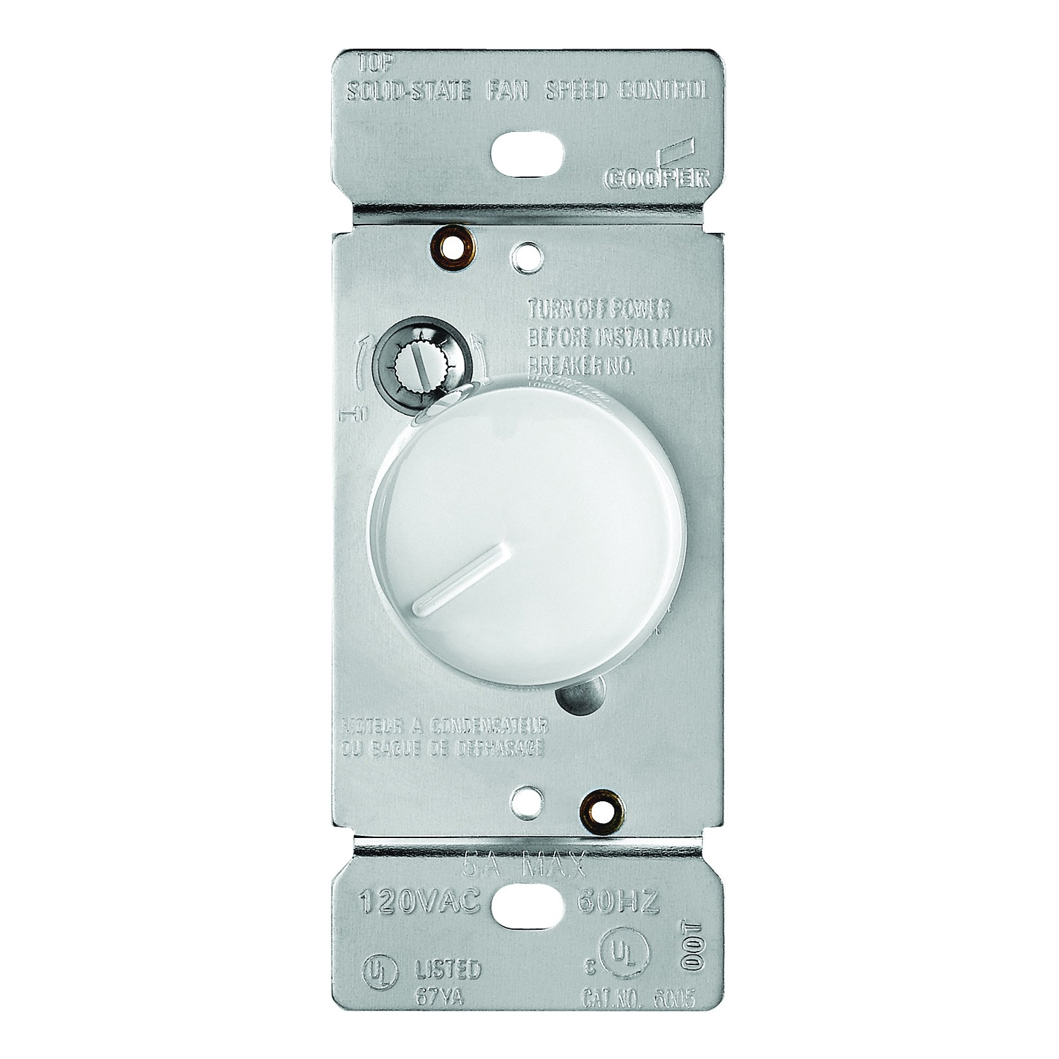 Picture of Eaton Wiring Devices RFS5-W-K Rotary Control Switch, 5 A, 120 V, Rotary Actuator, Polycarbonate, White
