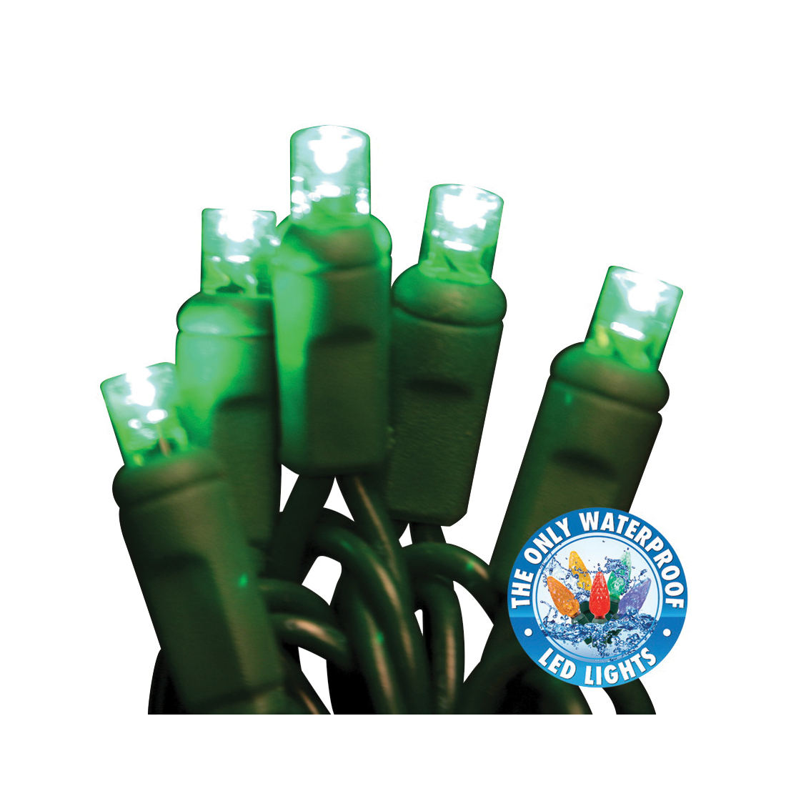 Picture of Holiday Bright Lights LEDBX-WA50-GR6 Light Set, 50 -Lamp, LED Lamp, Green Lamp, 50000 hr Average Life, 26 ft L