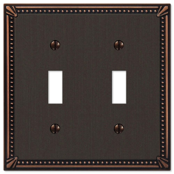 Picture of Amerelle Imperial 74TTDB Wallplate, 4-13/16 in L, 4-13/16 in W, 2-Gang, Metal, Aged Bronze