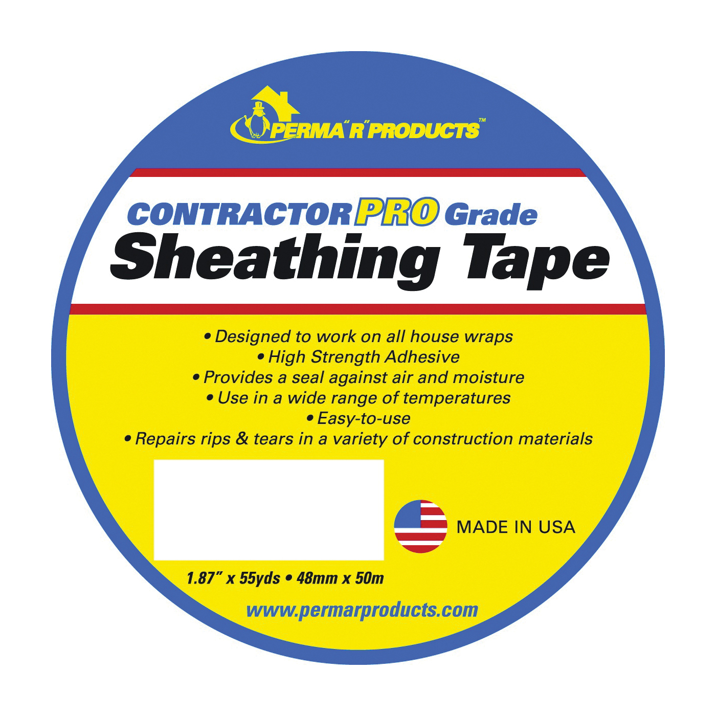 Picture of PERMA R PRODUCTS Contractor Pro Grade 18755 Sheathing Tape, 50 m L, 48 mm W, Polypropylene Backing, White