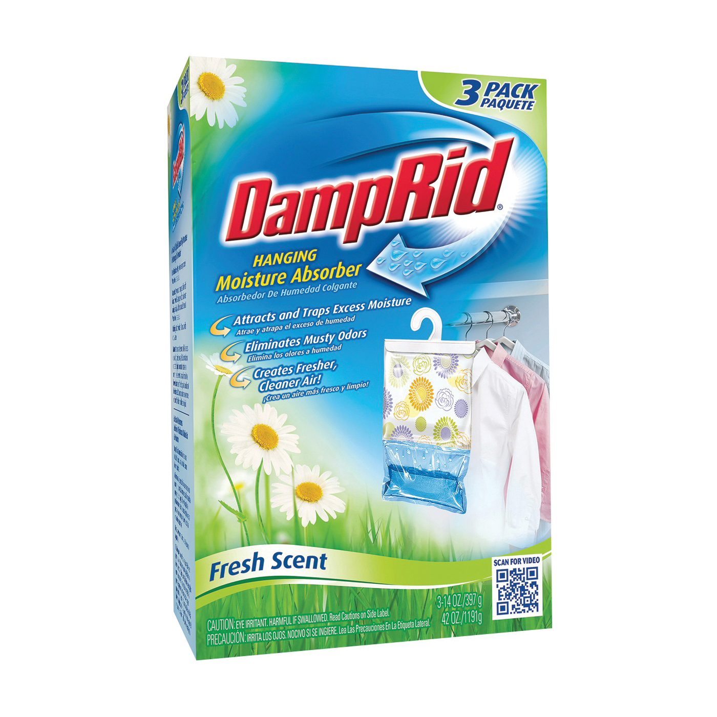 Picture of DampRid FG83K Hanging Moisture Absorber, 14 oz Package, Box, Solid, Odorless