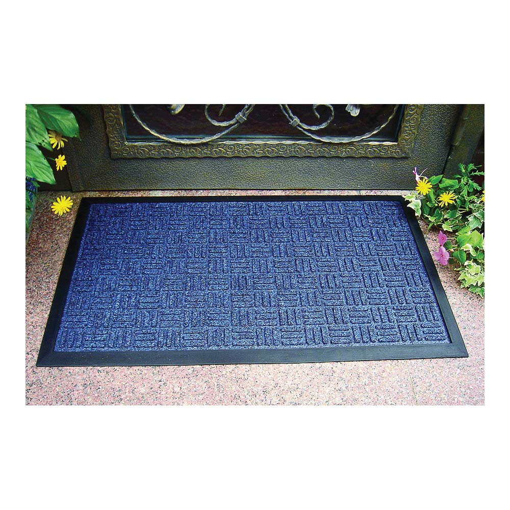 Picture of Simple Spaces 06ABSHE-11-3L Door Mat, 30 in L, 18 in W, Polypropylene Surface, Blue