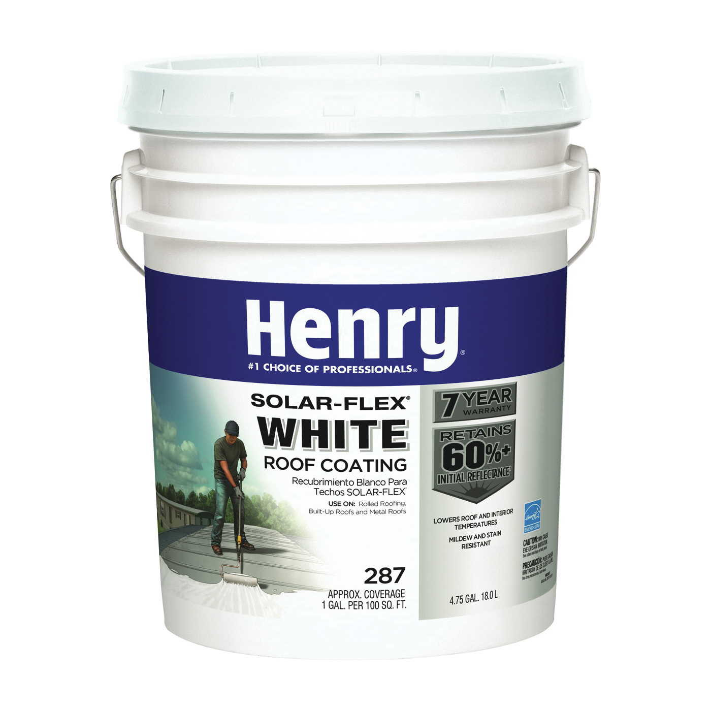 Picture of Henry HE287SF871 Elastomeric Roof Coating, White, 5 gal, Pail, Cream