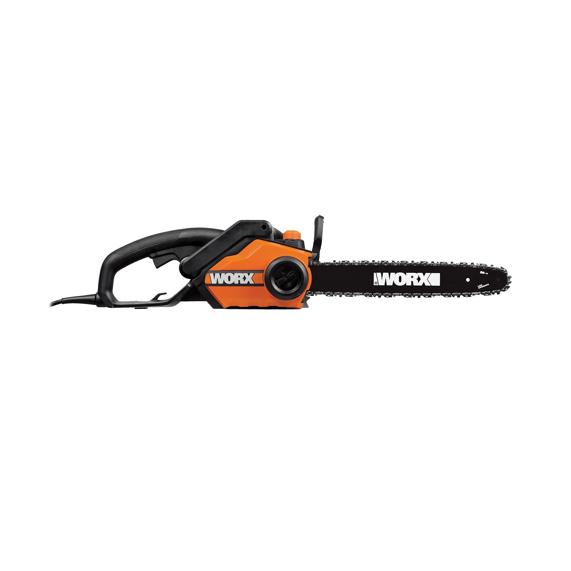 Picture of WORX WG303.1 Electric Chainsaw, 14.5 A, 120 V, 3.5 hp, 16 in L Bar/Chain, 3/8 in Bar/Chain Pitch, Rear Handle