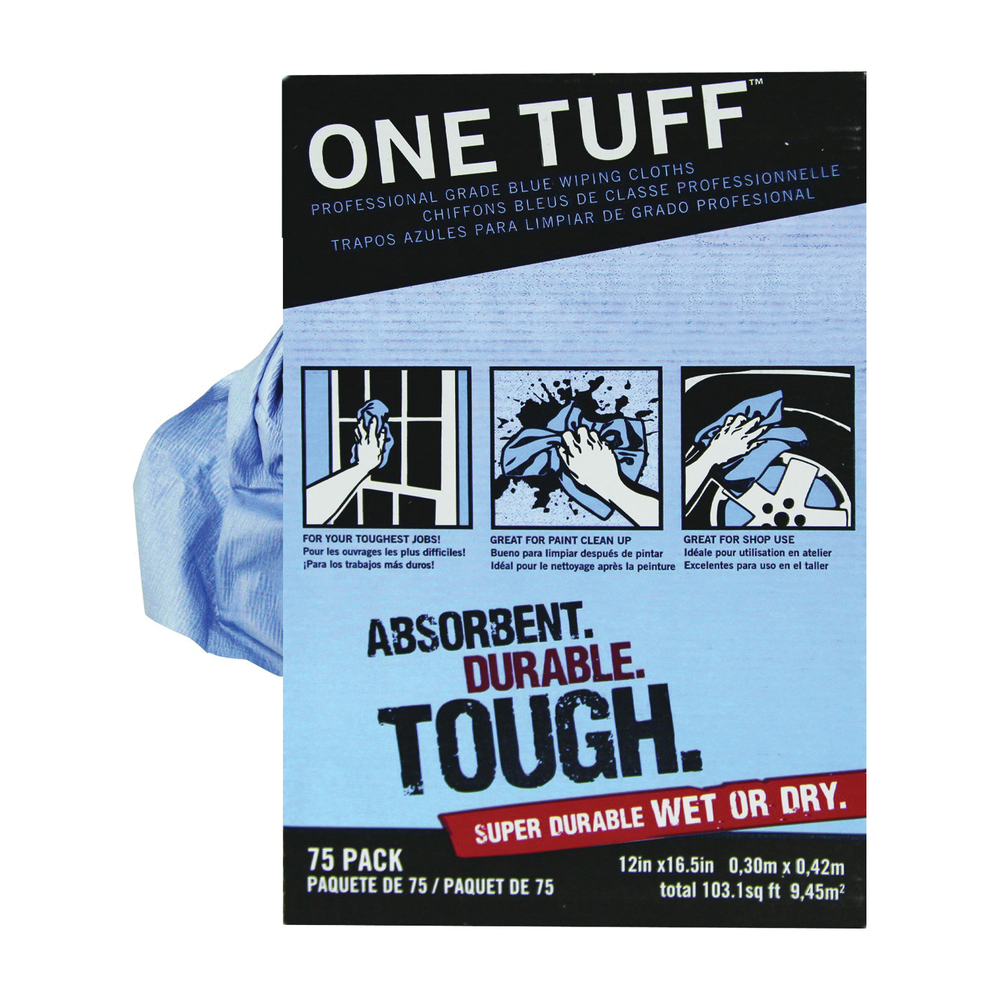 Picture of Trimaco 84075 Wiping Cloth Rag, 16-1/2 x 12 in, Dupont Sontara, Blue, Dispenser Box