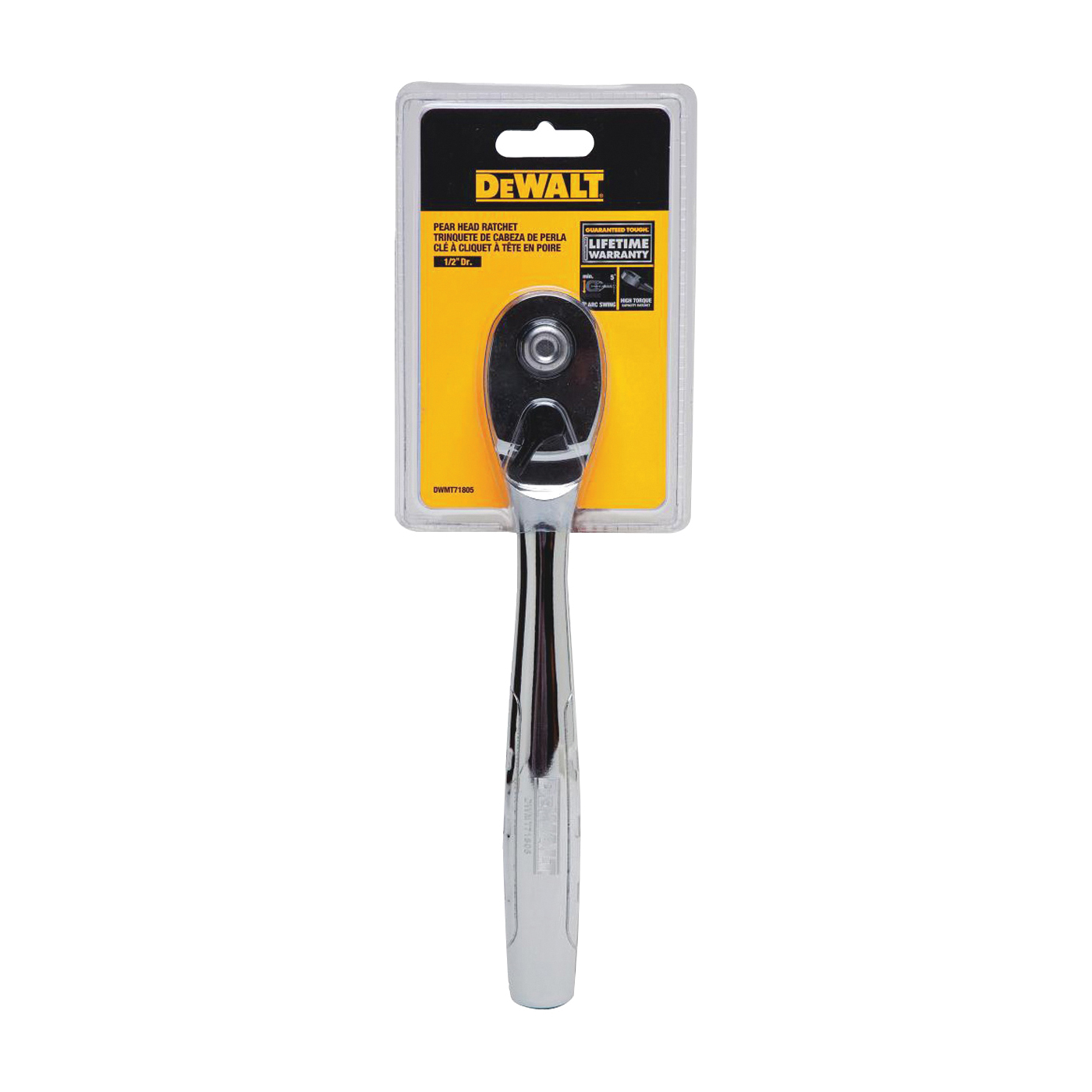 Picture of DeWALT DWMT71805 Ratchet, 1/2 in Drive, 12-6/16 in OAL, Chrome