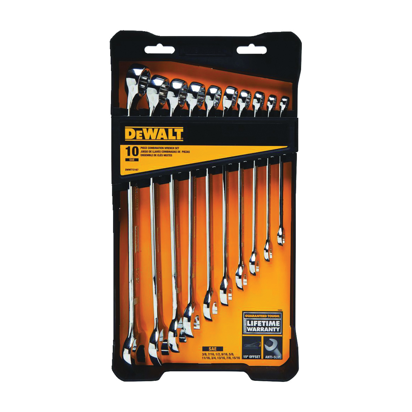 Picture of DeWALT DWMT72167 Wrench Set, 10 -Piece, Chrome Vanadium Steel, Specifications: SAE Measurement