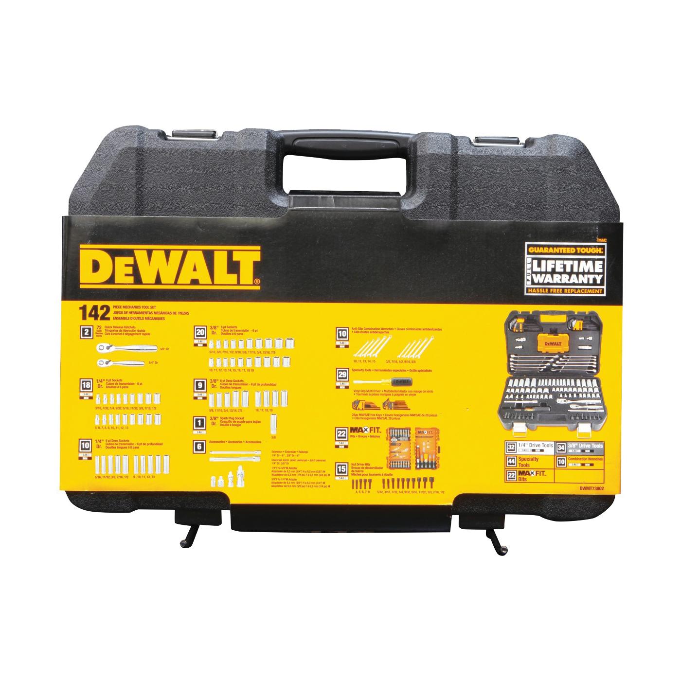 Picture of DeWALT DWMT73802 Mechanic's Tool Set, 142 -Piece, Chrome Vanadium, Polished Chrome Vanadium