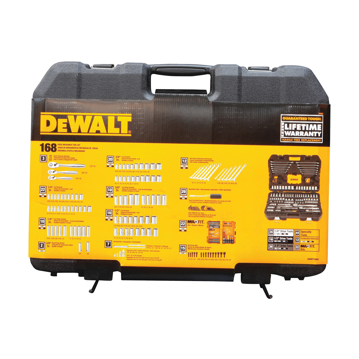 Picture of DeWALT DWMT73803 Mechanics Tool Set, 168 -Piece, Chrome Vanadium, Polished Chrome Vanadium