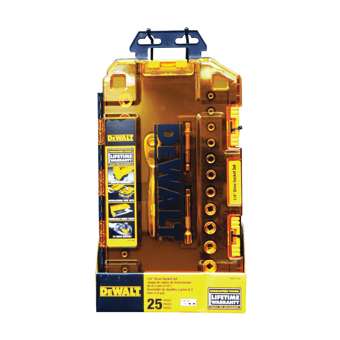 Picture of DeWALT DWMT73805 Socket Set, 25 -Piece, Chrome Vanadium, Polished Chrome Vanadium