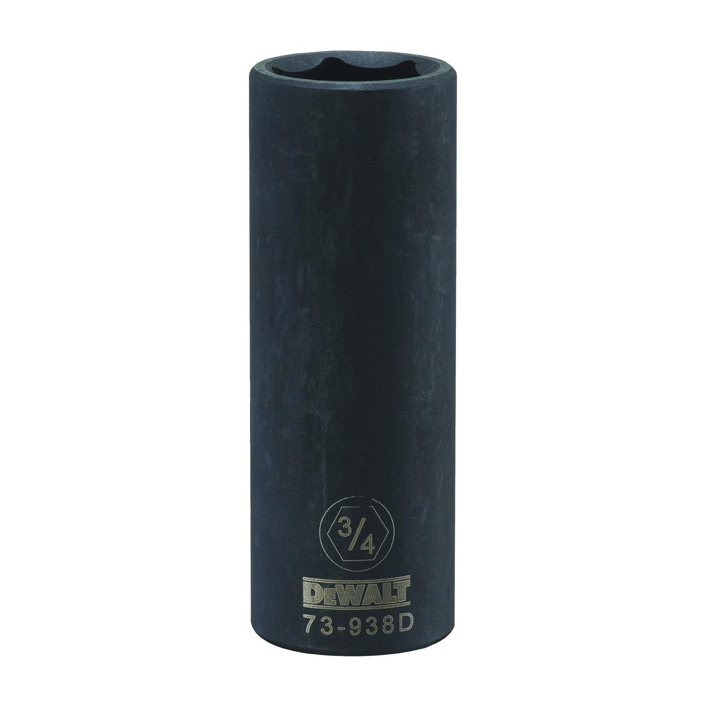 Picture of DeWALT DWMT73938OSP Impact Socket, 3/4 in Socket, 1/2 in Drive, 6 -Point, CR-440 Steel, Black Oxide