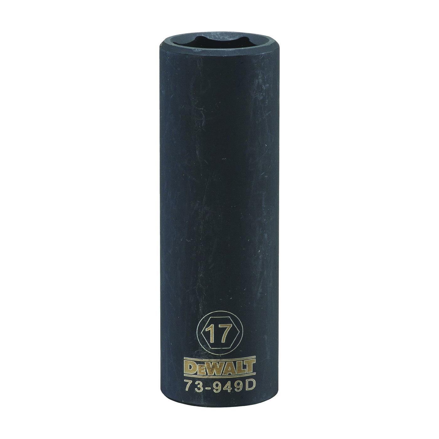 Picture of DeWALT DWMT73949OSP Impact Socket, 17 mm Socket, 1/2 in Drive, 6 -Point, CR-440 Steel, Black Oxide