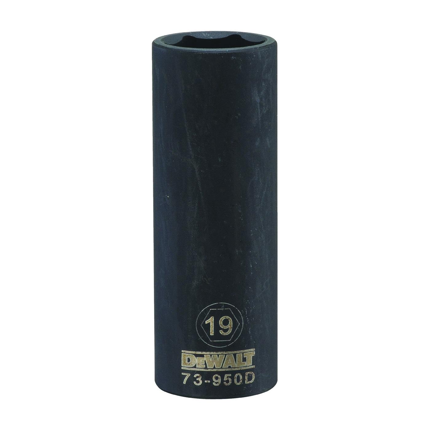 Picture of DeWALT DWMT73950OSP Impact Socket, 19 mm Socket, 1/2 in Drive, 6 -Point, CR-440 Steel, Black Oxide