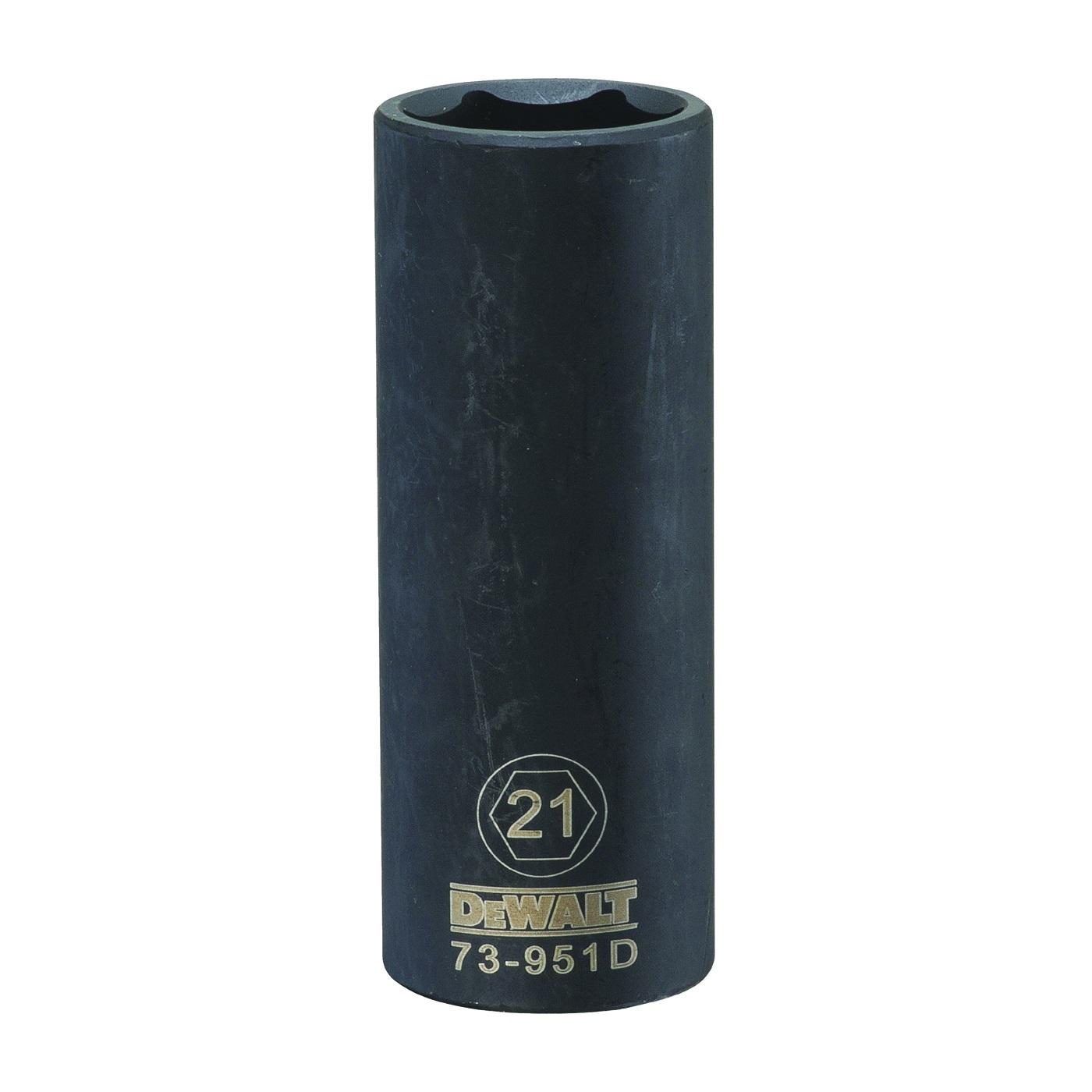 Picture of DeWALT DWMT73951OSP Impact Socket, 21 mm Socket, 1/2 in Drive, 6 -Point, CR-440 Steel, Black Oxide