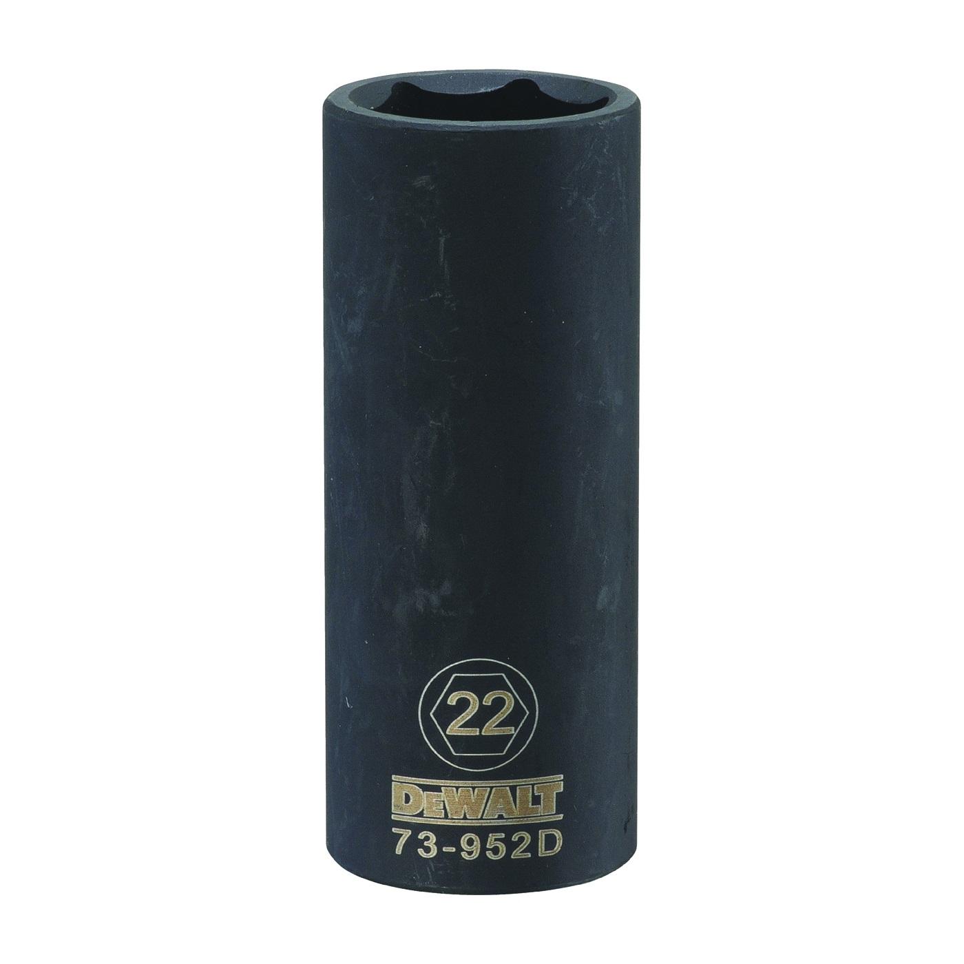 Picture of DeWALT DWMT73952OSP Impact Socket, 22 mm Socket, 1/2 in Drive, 6 -Point, CR-440 Steel, Black Oxide