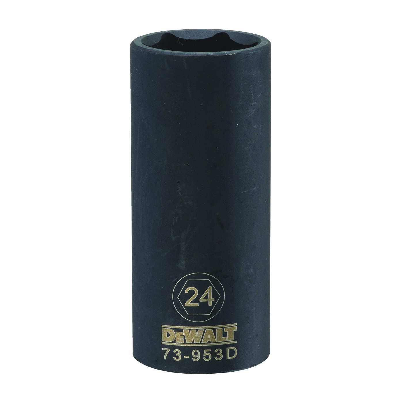 Picture of DeWALT DWMT73953OSP Impact Socket, 24 mm Socket, 1/2 in Drive, 6 -Point, CR-440 Steel, Black Oxide