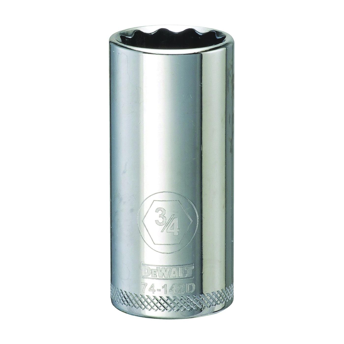 Picture of DeWALT DWMT74142OSP Drive Socket, 3/4 in Socket, 3/8 in Drive, 12 -Point, Vanadium Steel, Polished Chrome