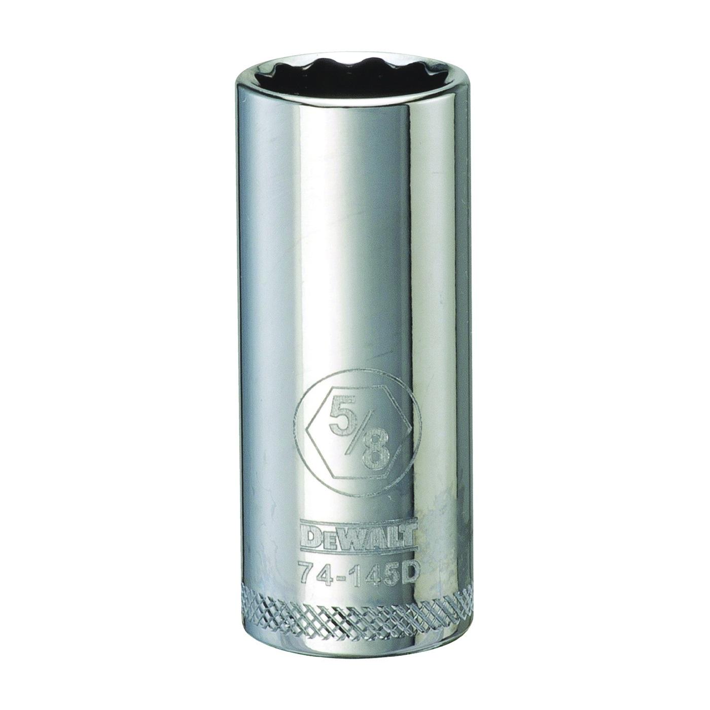 Picture of DeWALT DWMT74145OSP Drive Socket, 5/8 in Socket, 3/8 in Drive, 12 -Point, Vanadium Steel, Polished Chrome