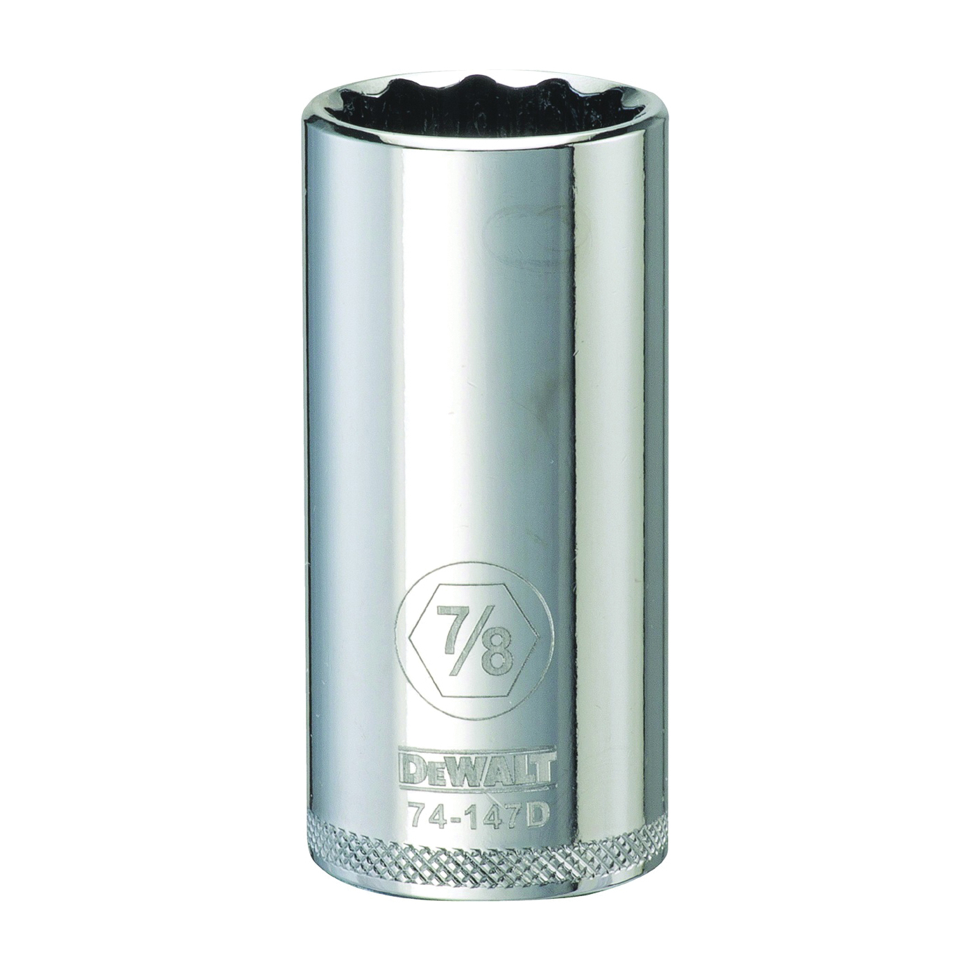 Picture of DeWALT DWMT74147OSP Drive Socket, 7/8 in Socket, 3/8 in Drive, 12 -Point, Vanadium Steel, Polished Chrome