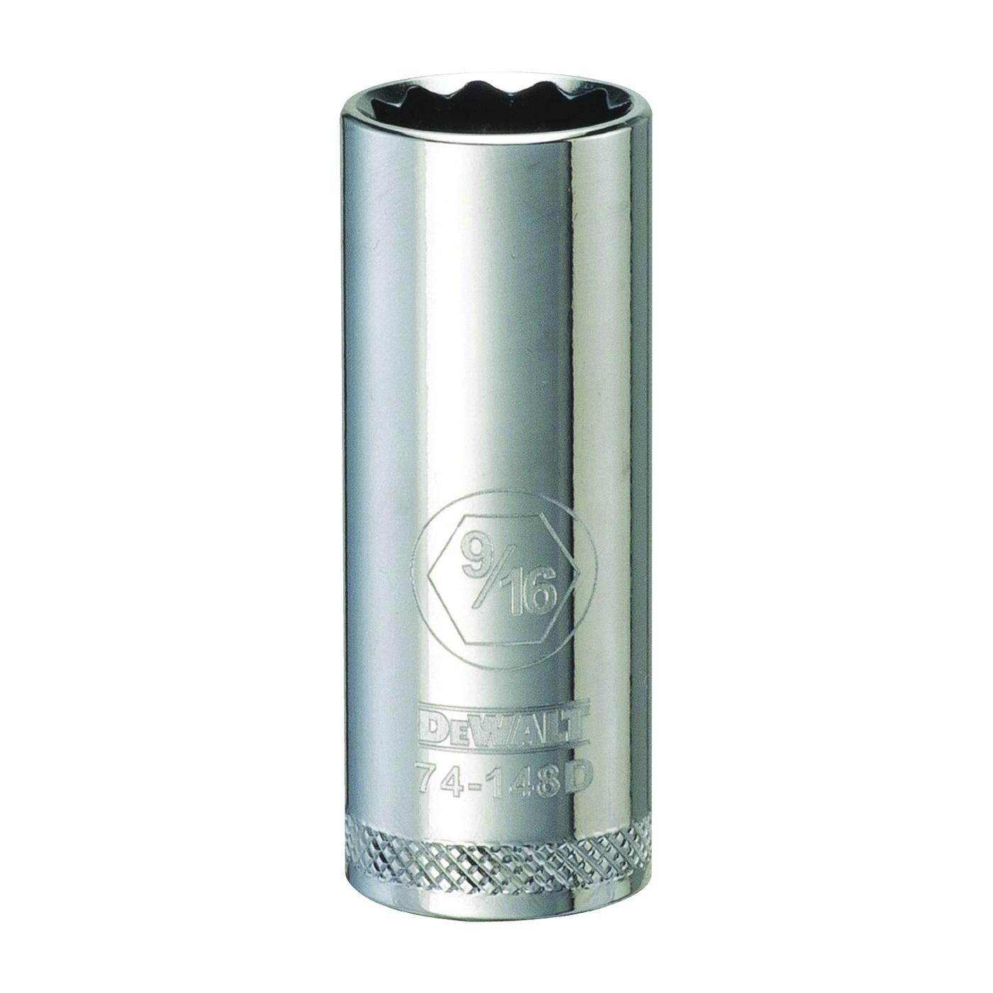 Picture of DeWALT DWMT74148OSP Drive Socket, 9/16 in Socket, 3/8 in Drive, 12 -Point, Vanadium Steel, Polished Chrome