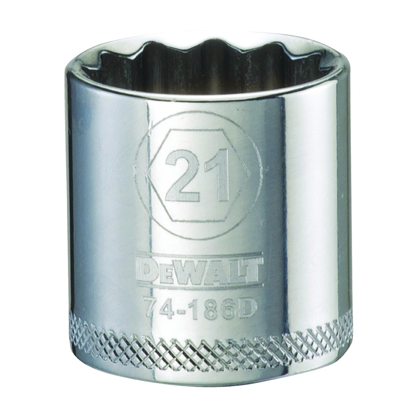 Picture of DeWALT DWMT74186OSP Hand Socket, 21 mm Socket, 3/8 in Drive, 12 -Point, Vanadium Steel, Polished Chrome
