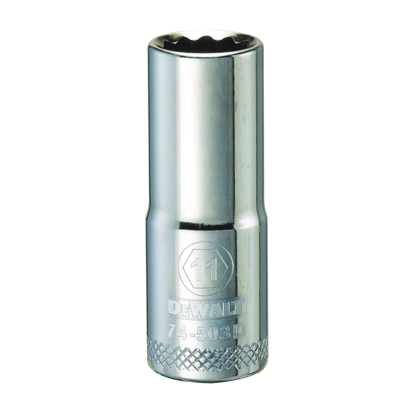 Picture of DeWALT DWMT74503OSP Drive Socket, 11 mm Socket, 3/8 in Drive, 12 -Point, Vanadium Steel, Polished Chrome