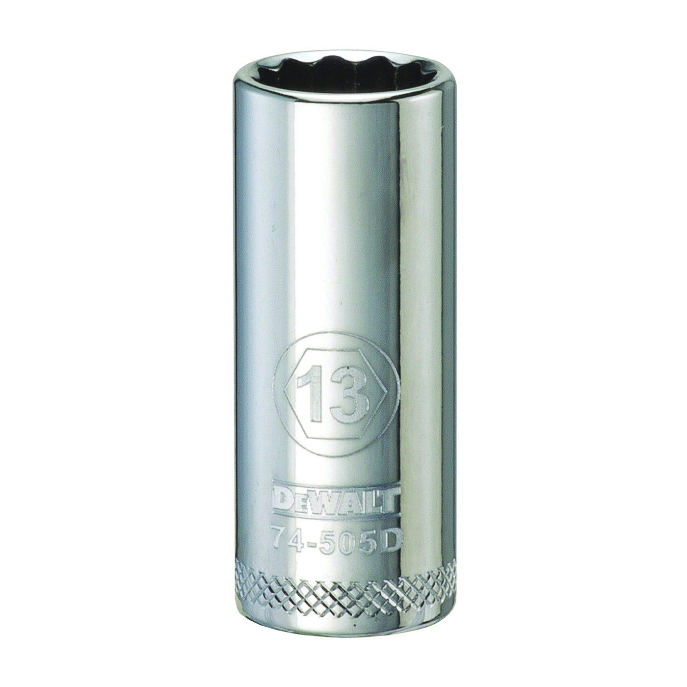 Picture of DeWALT DWMT74505OSP Drive Socket, 13 mm Socket, 3/8 in Drive, 12 -Point, Vanadium Steel, Polished Chrome