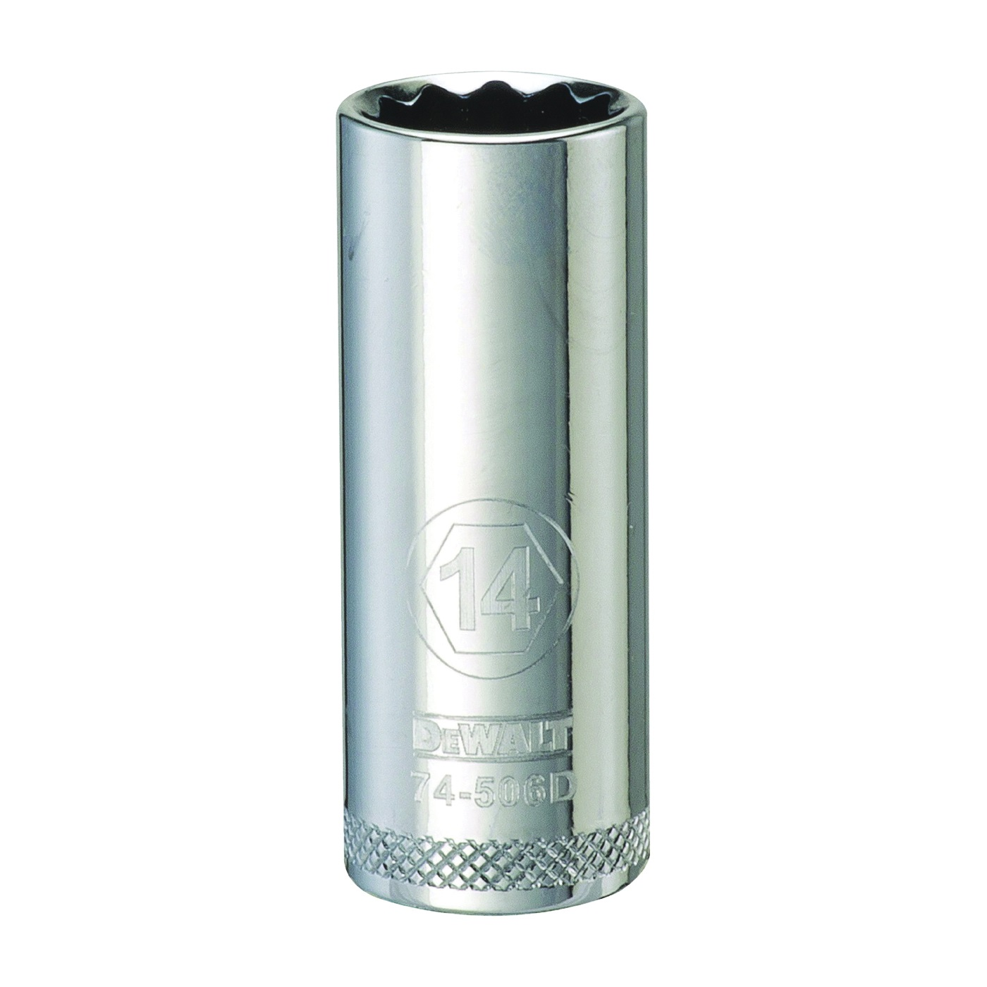 Picture of DeWALT DWMT74506OSP Drive Socket, 14 mm Socket, 3/8 in Drive, 12 -Point, Vanadium Steel, Polished Chrome