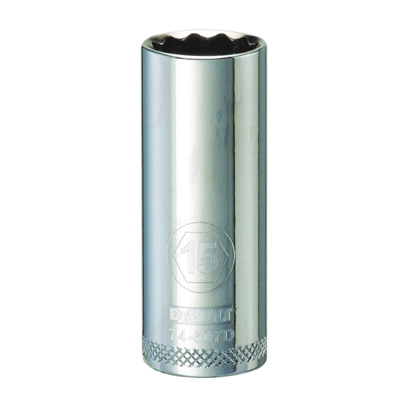 Picture of DeWALT DWMT74507OSP Drive Socket, 15 mm Socket, 3/8 in Drive, 12 -Point, Vanadium Steel, Polished Chrome
