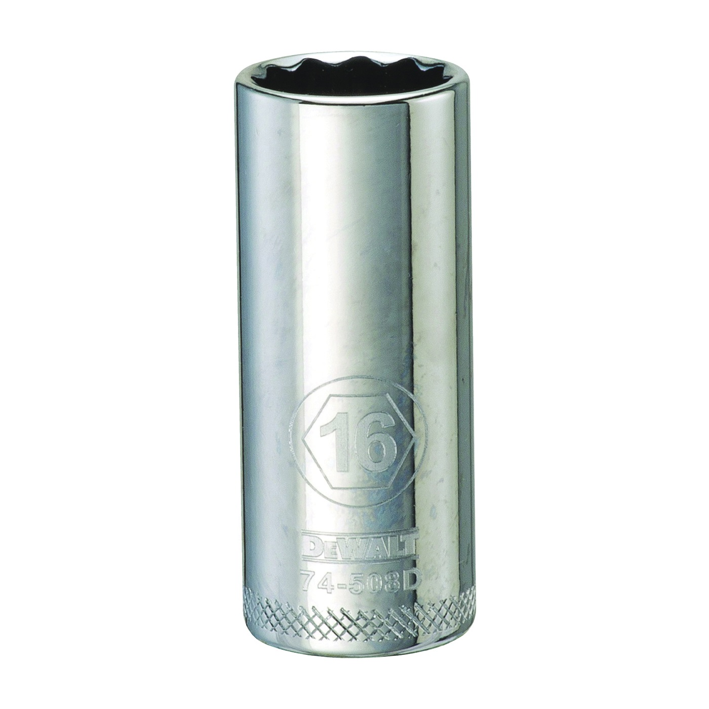 Picture of DeWALT DWMT74508OSP Drive Socket, 16 mm Socket, 3/8 in Drive, 12 -Point, Vanadium Steel, Polished Chrome