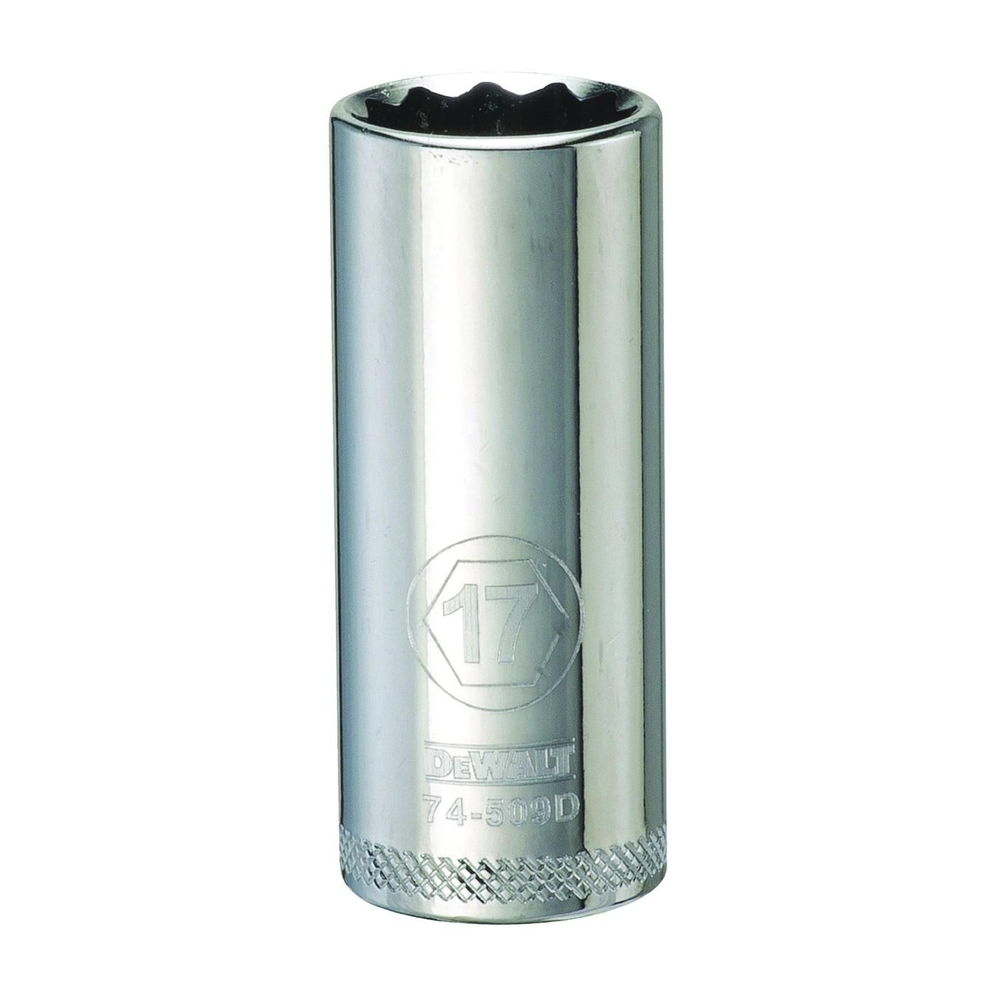 Picture of DeWALT DWMT74509OSP Drive Socket, 17 mm Socket, 3/8 in Drive, 12 -Point, Vanadium Steel, Polished Chrome