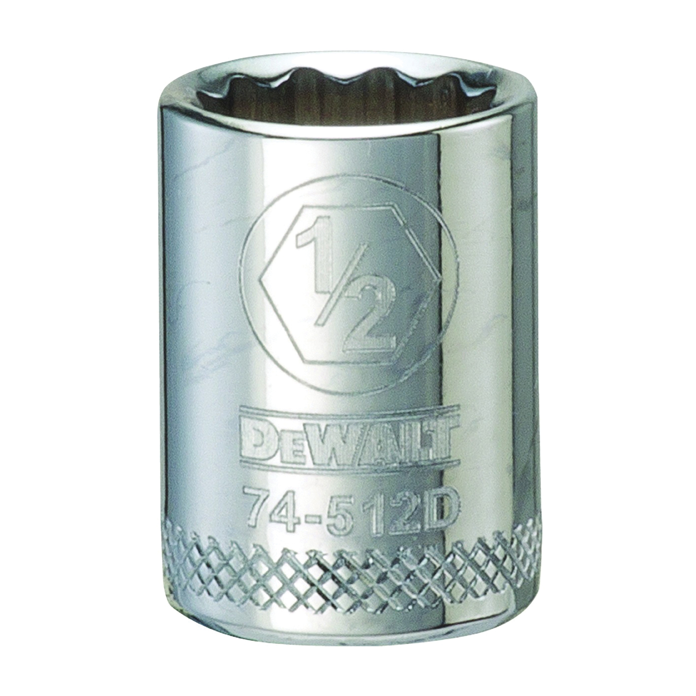 Picture of DeWALT DWMT74512OSP Hand Socket, 1/2 in Socket, 3/8 in Drive, 12 -Point, Vanadium Steel, Polished Chrome
