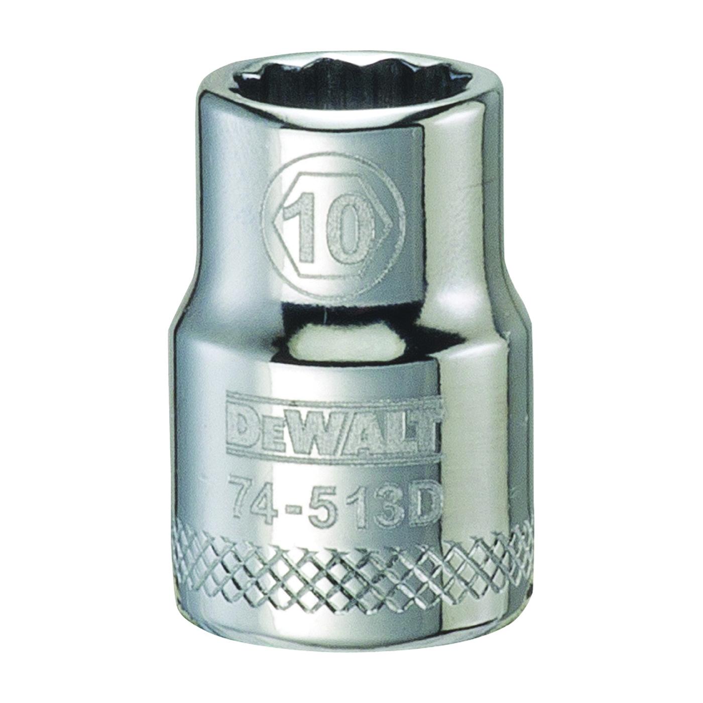Picture of DeWALT DWMT74513OSP Hand Socket, 10 mm Socket, 3/8 in Drive, 12 -Point, Vanadium Steel, Polished Chrome