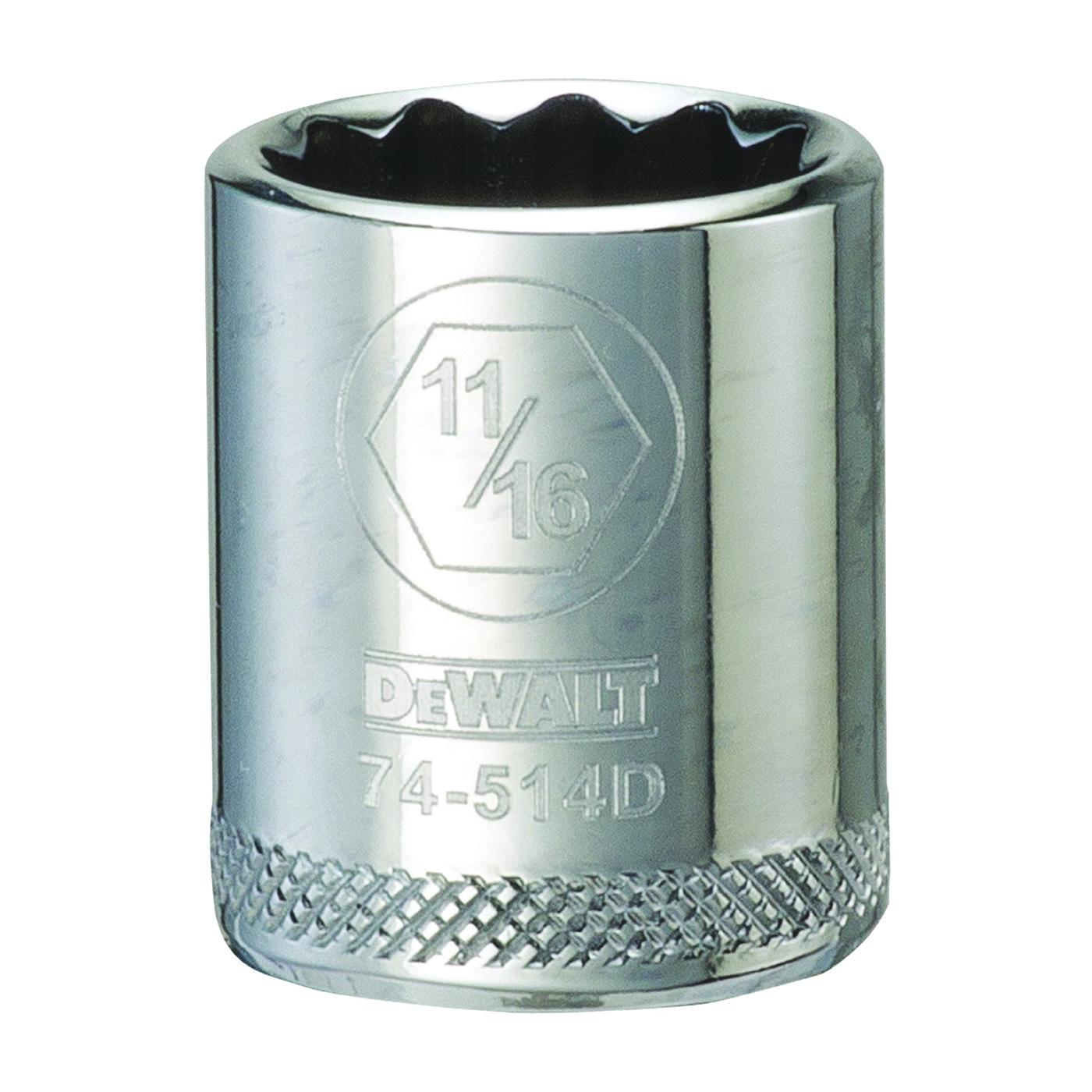 Picture of DeWALT DWMT74514OSP Hand Socket, 11/16 in Socket, 3/8 in Drive, 12 -Point, Vanadium Steel, Polished Chrome