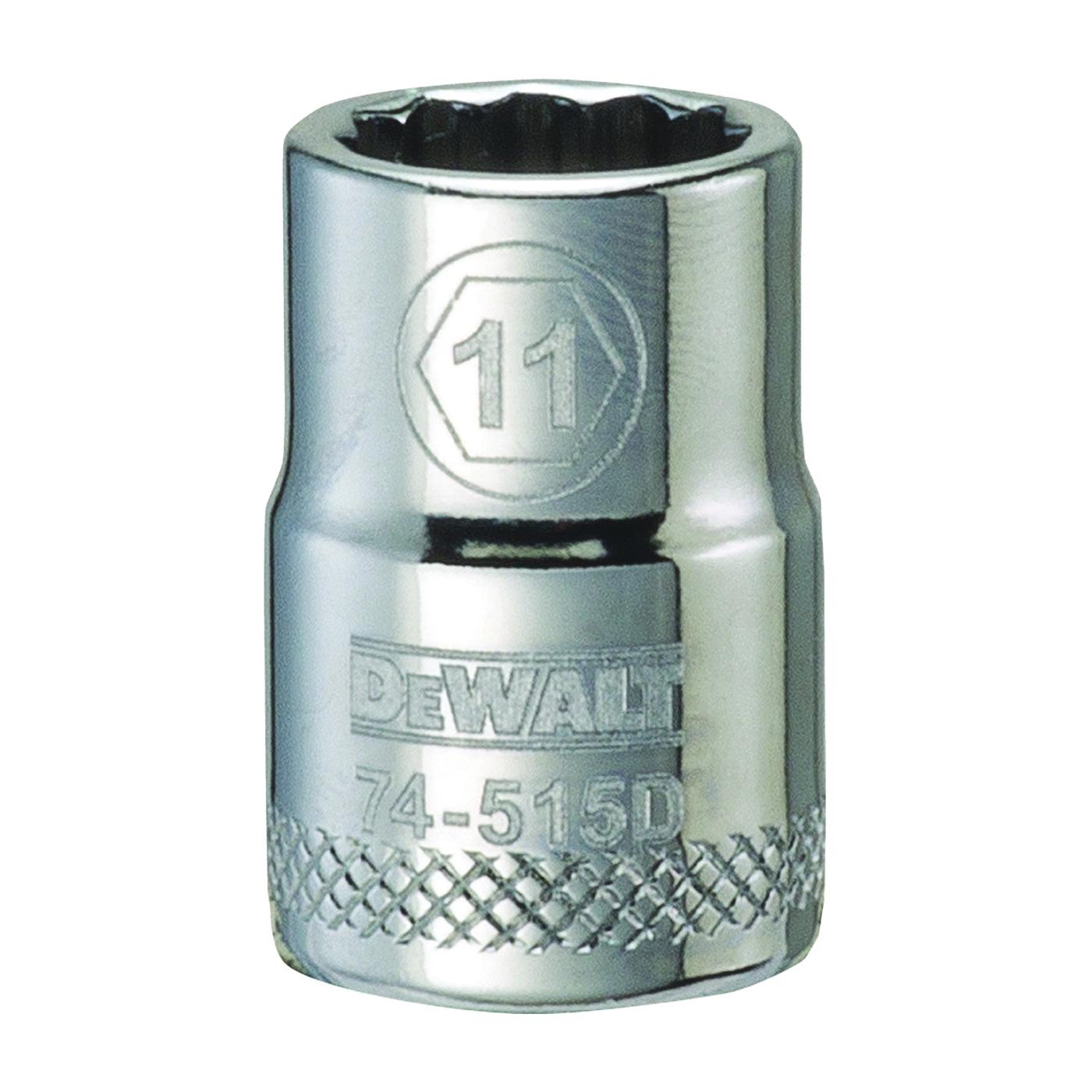 Picture of DeWALT DWMT74515OSP Hand Socket, 11 mm Socket, 3/8 in Drive, 12 -Point, Vanadium Steel, Polished Chrome