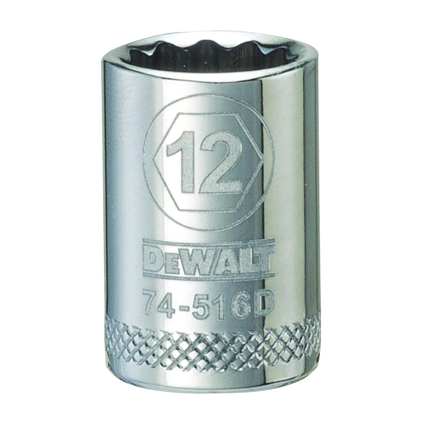 Picture of DeWALT DWMT74516OSP Hand Socket, 12 mm Socket, 3/8 in Drive, 12 -Point, Vanadium Steel, Polished Chrome