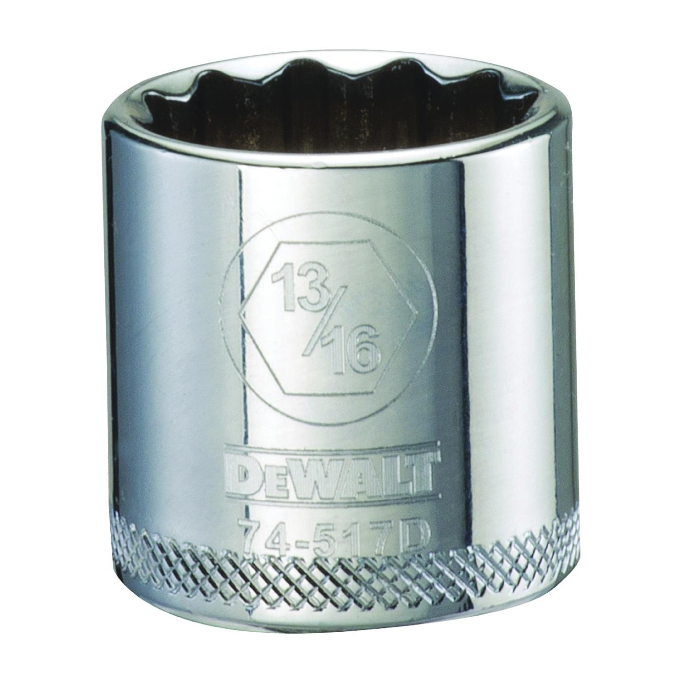 Picture of DeWALT DWMT74517OSP Hand Socket, 13/16 in Socket, 3/8 in Drive, 12 -Point, Vanadium Steel, Polished Chrome