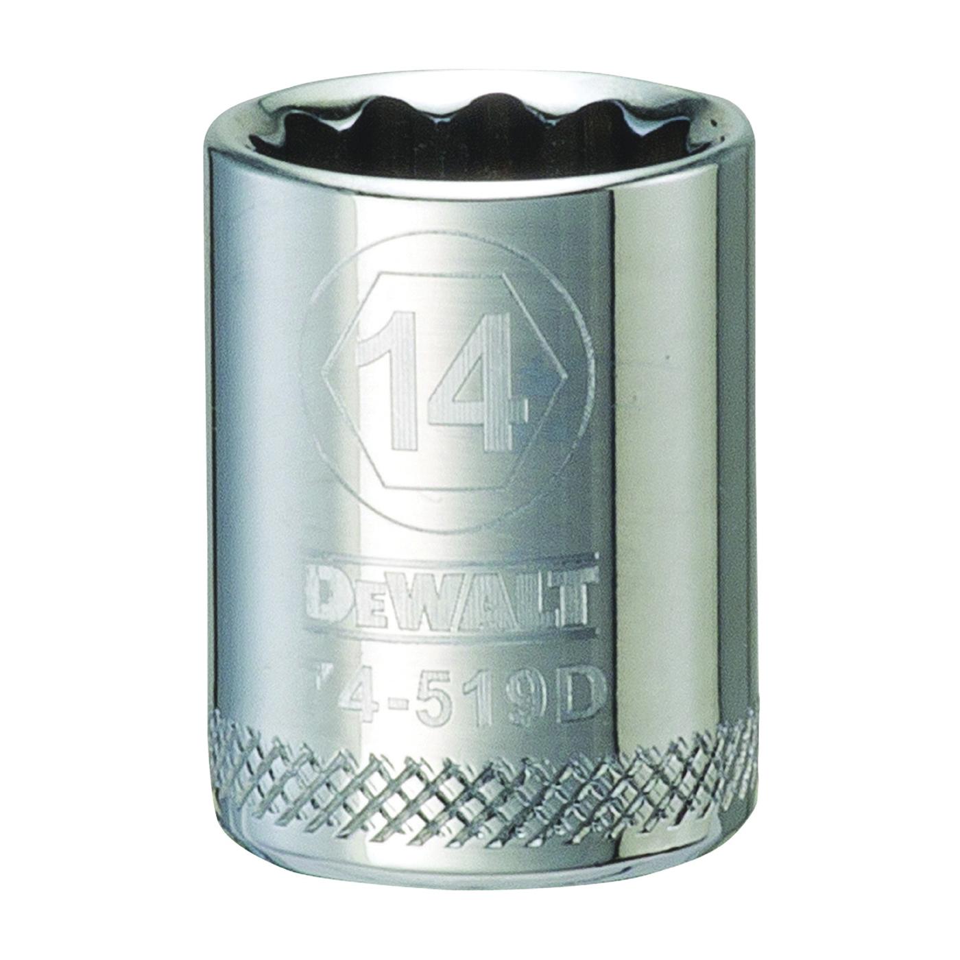 Picture of DeWALT DWMT74519OSP Hand Socket, 14 mm Socket, 3/8 in Drive, 12 -Point, Vanadium Steel, Polished Chrome