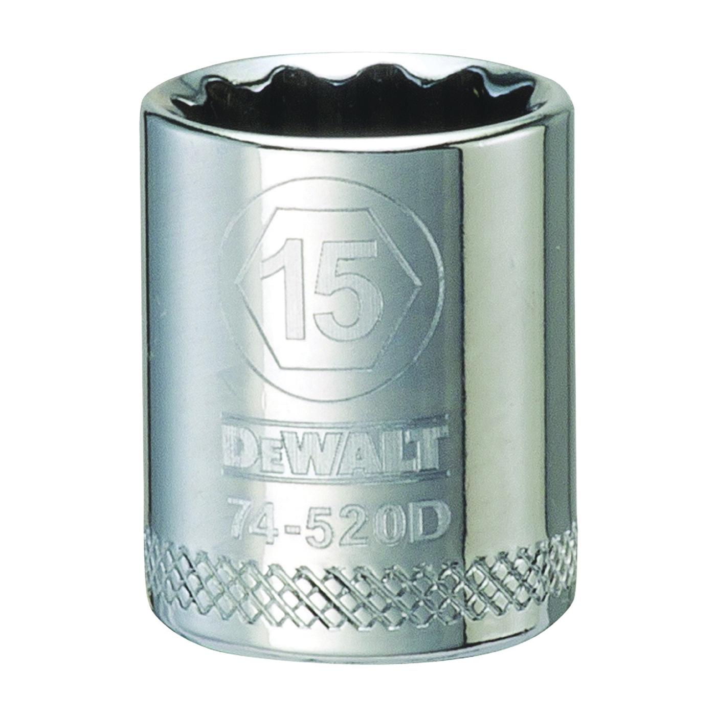Picture of DeWALT DWMT74520OSP Hand Socket, 15 mm Socket, 3/8 in Drive, 12 -Point, Vanadium Steel, Polished Chrome