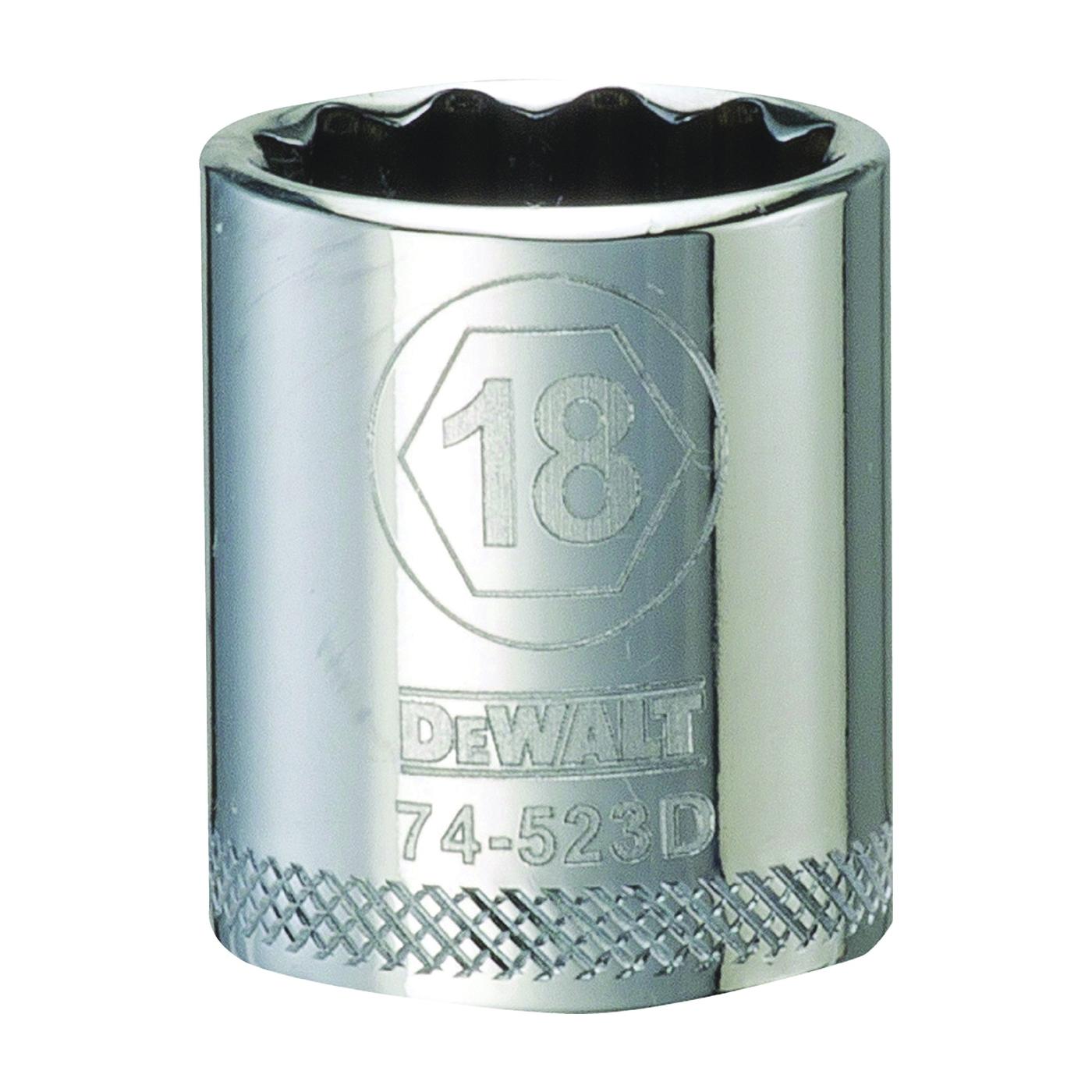 Picture of DeWALT DWMT74523OSP Hand Socket, 18 mm Socket, 3/8 in Drive, 12 -Point, Vanadium Steel, Polished Chrome