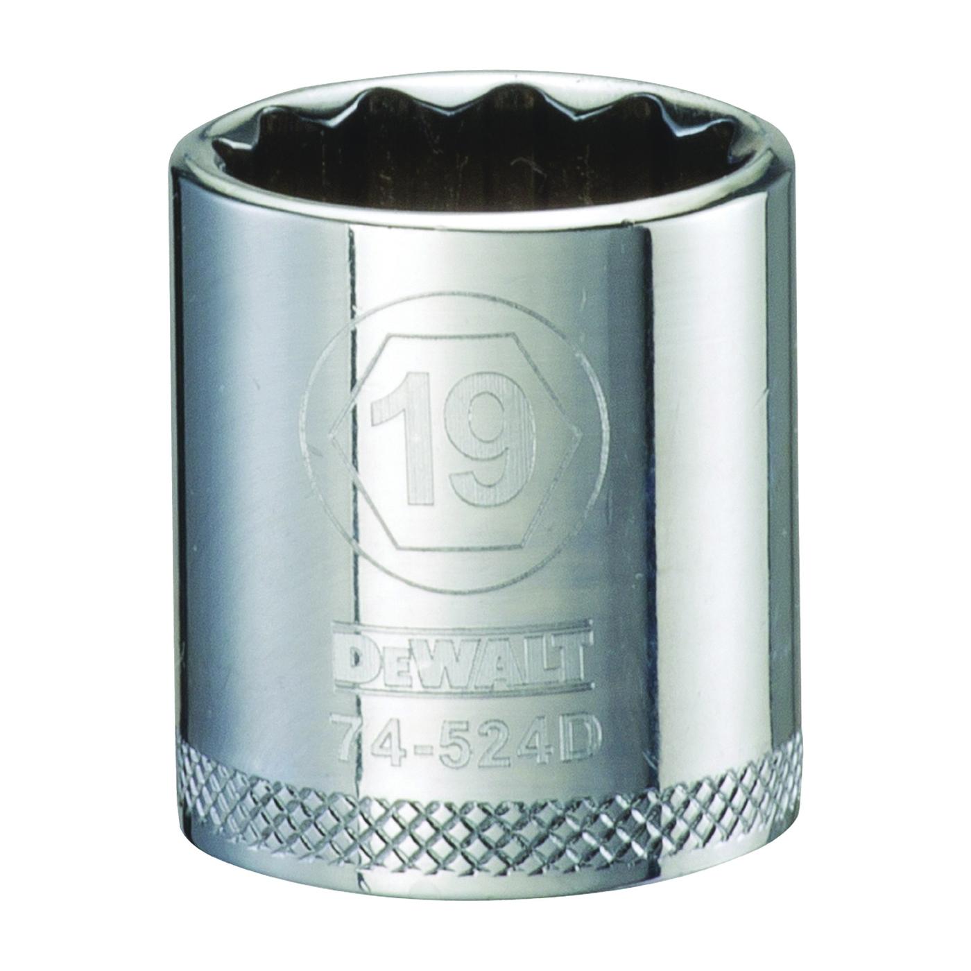 Picture of DeWALT DWMT74524OSP Hand Socket, 19 mm Socket, 3/8 in Drive, 12 -Point, Vanadium Steel, Polished Chrome